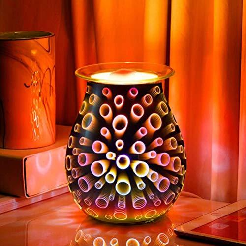 OSALADI Glass Wax Melt Warmer Electric Oil Burner 3D Glass Tart Warmer Aroma Lamp for Home Bedroom Living Room Office