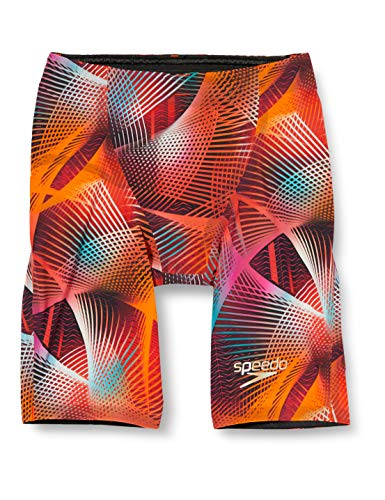 Speedo Fastskin LZR Racer Elite 2High Waisted Jammer Schwimmhose Z lang, rot (Lava Red/Black/Electric Pink), 30