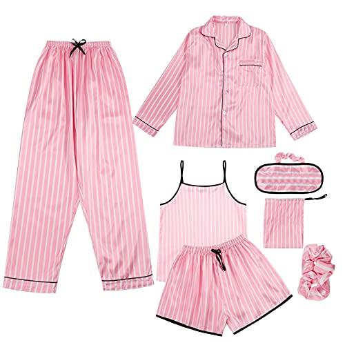 CTMD Juego de 7 Piezas Conjunto de Pijama Fino para Mujer, Ropa de Dormir Cómoda y Suave para Primavera Verano Otoño Invierno Fiesta, Inicio