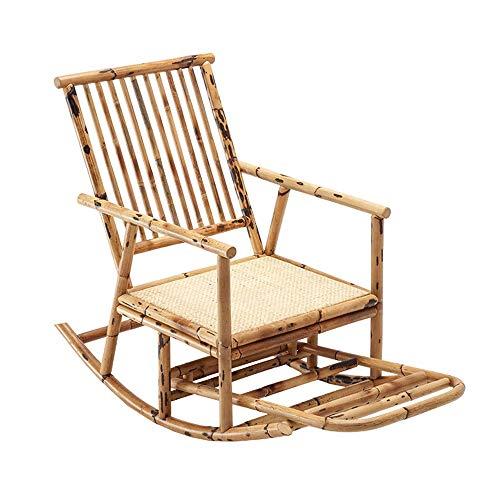 CHENXU Sillón Mecedora Relax Silla Plegable - Silla de oscilación de sillón reclinable Sofá del Ocio Silla Individual Balcón de Madera Maciza de bambú Silla de Mimbre, 60x94cm