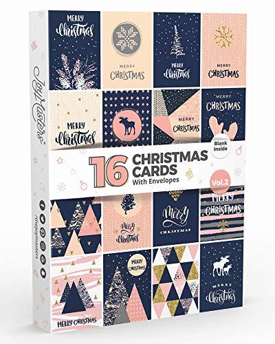 Joy Masters Biglietti di Buon Natale Moderni per Uomo e Donna – Set di 16 Biglietti di Auguri Natalizi con Busta – Interno Bianco – Vol. 2