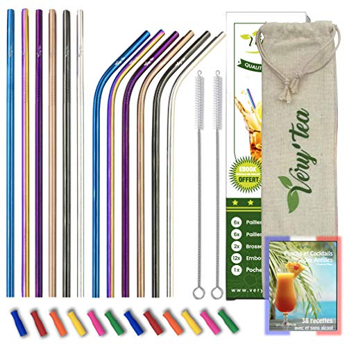 Very'tea - 12 Pailles INOX [Multicolore - Normes NF] + 12 Embouts Silicone + Ebook Cocktail + Sacoche + 2 Brosses - Paille Metal Acier Inoxydable Réutilisable Ecologique - sans BPA - Idéal Enfant