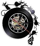 Reloj de Pared Lindo Juego de ratón y Queso Arte de Pared Reloj de Pared Disco de Vinilo Reloj de Pared Ratón Ratón Regalo Decoración de habitación de niños Reloj 30 × 30Cm