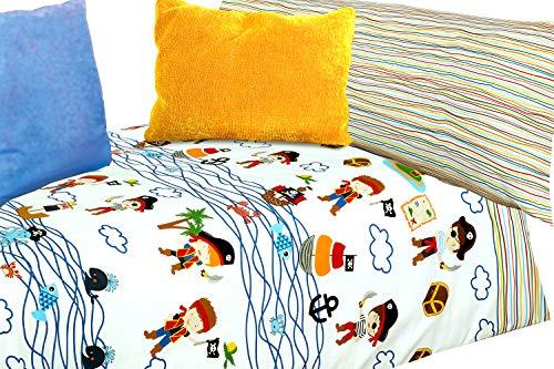 Montse Interiors Juego de sábanas Estampado Piratas (Caribe, para Cama de 90x190/200)