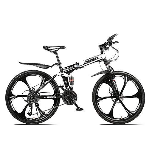 HDM Mountain Bike Pieghevole per Uomini e Donne Adulti, Bicicletta Sportiva da Montagna, MTB con 21/24/27-Stage Shift, 26 Pollici 3 Taglierina, Bianco (21 Marce,C)