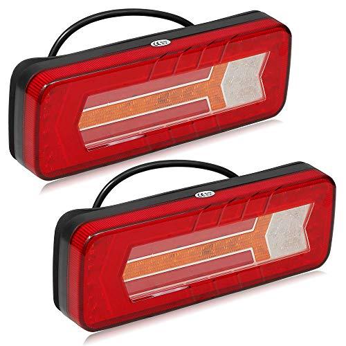 ETUKER LED Anhänger Rücklicht-Komplettsets,LED Lkw Beleuchtung 12/24V LED Rückleuchten Heckanhänger Licht Anhänger Rückleuchten Halo Heckleuchte mit Reflektor Wasserdicht für Traktor E-Mark Zertifikat