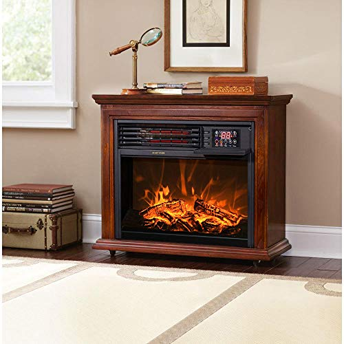 XtremepowerUS Electric Fireplace Heater Infrared Quartz w/Timer, Remote Controller Built-in Wheel, 1500W