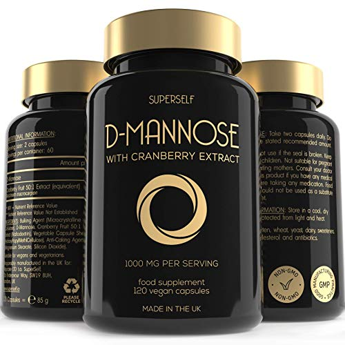 D-Mannose with Cranberry Capsules - 1000mg D Mannose & Cranberry Extract per Serving - 120 Tablets - UK Made & Vegan - High Strength Natural Dmannose Supplement for Women and Men