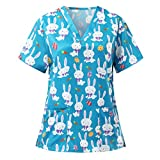Womens Scrub_Tops V-Neck Easter Bunny Printed Working Uniform Short Sleeve Workwear Shirts Cute Spring Summer Holiday Tops Blouse with Pockets