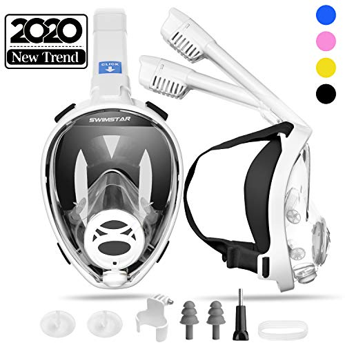 SwimStar 2020 Foldable Full Face Snorkel Mask for Women and Men, Anti Fog Dry Top Snorkeing Set, 180 Panoramic View Diving Mask with Camera Mount and Comfortable Adult Snorkeling Gear Black