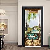 FUXIAOCHEN Papel Tapiz 3D para Puerta de Escalera de Caracol, decoración Creativa del hogar, Pegatinas Autoadhesivas de PVC para Puertas, calcomanías de Pared de Bricolaje extraíbles