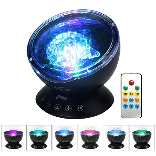 UMIWE Remote Control Ocean Wave Projector Night Light Lamp with...