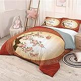 HELLOLEON House Decor Collection Pure Bedding - Ropa de cama de lujo, diseño de flores de cerezo oriental con mariposas en marco circular, poliéster, suave y transpirable (completo)
