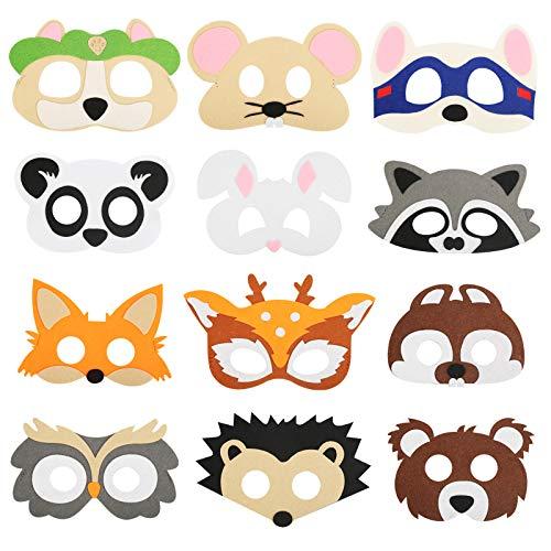 ZERHOK 12Pcs Kinder Tiermasken Set, Filz Masken Süßes Tier Augenmaske Cosplay Masken mit Elastischen Seil für Halloween Kindergeburtstag Karneval Weihnachten Themenparty