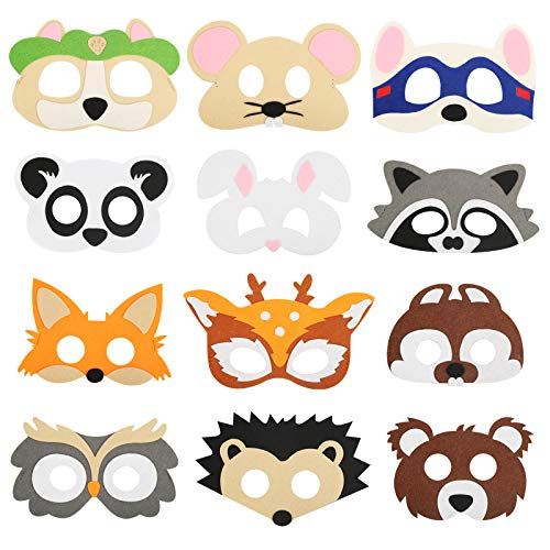 ZERHOK 12 Máscara de Animales para Niños de Fieltro Accesorios de disfraces de cara con temática de Safari para zoológico granja bosque disfraz de cosplay mascarada suministros para fiesta