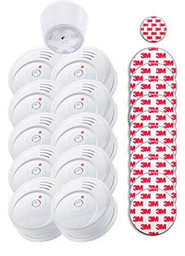 Jeising GS506 G 10er Set Rauchmelder KRIWAN Zertifiziert EN14604 mit 10 Jahre Batterie inkl. 10 x Magnetbefestigung Magnetopad Magnethalter und Hitzemelder GS403 mit Magnetklebepad