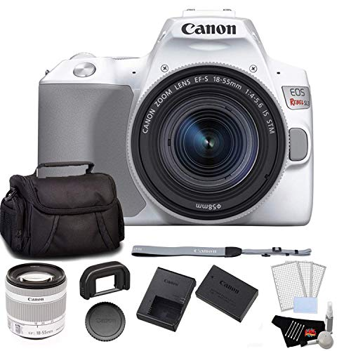 Canon EOS Rebel SL3 DSLR Camera with 18-55mm Lens (White) Bundle with LCD Screen Protectors + Carrying Case and More