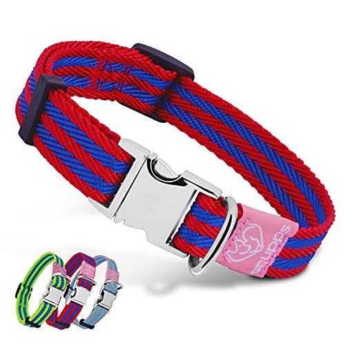 Collar de nailon para perro con hebilla de metal, ajustable, suave, cómodo, para cachorros, niños y niñas, perros grandes (rojo)