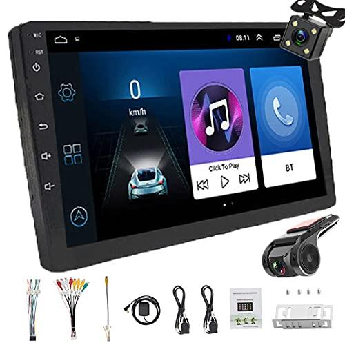 Android 2 Din Bluetooth GPS estéreo para autoradio, Reproductor multimedia MP5 para automóvil 10' Entrada USB SD AUX, Audio para automóvil, Radio FM, WiFi, Enlace espejo,Cámara de visión trasera DVR
