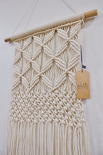 Gentle Crafts BoHo Macrame Hanging Wall Decor: Decorative Wall Art Cotton Rope Cord Woven Tapestry Home Decorations for the Living Room Kitchen Bedroom or Apartment