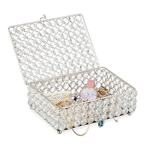 Relaxdays Joyero de Cristal Glamuroso, Caja Joyas con Espejo en la Base, Metal-Vidrio, 5cm, Plateado, 1 Ud, 7 x 19 x 14,5 cm