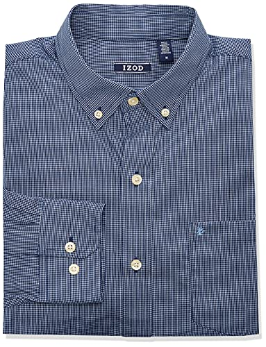 IZOD Men's Button Down Long Sleeve Stretch Performance Check Shirt, Basic Estate...