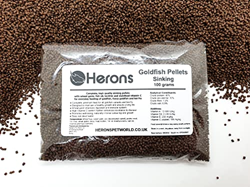HERONS Goldfish Pellets [100g] - Sinking Pellets for All Goldfish and Fancy Goldfish - OMEGA-3 and variety of amino acids - With Wheat Germ, Lecithin, Fish Oil