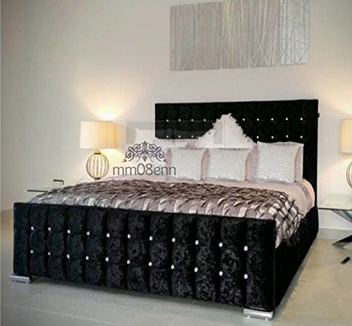 Cubed Upholstered Crushed Velvet Double/ Kingsize Bed Frame in Silver,Black,Cream,Gold,Champagne,Truffle (5ft King Size, Black)