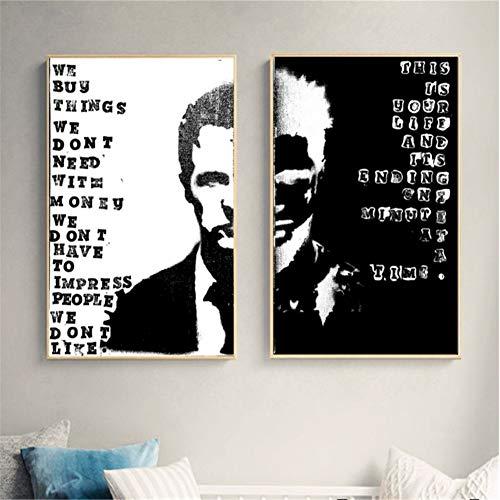Suuyar Fight Club Zwei Gesichter Film Figur Wandkunst Leinwand Malerei Poster Für Wohnkultur Poster Und Drucke Ungerahmt Dekorative Bilder-50x70cmx2 Kein Rahmen