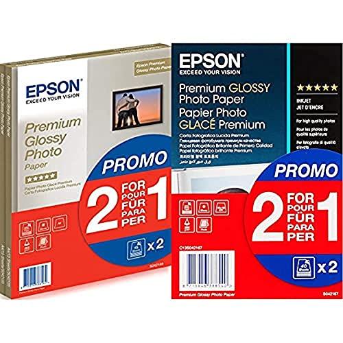 Epson C13S042169 Super Carta Fotografica Lucida, 2 x 15 fogli, 21 x 29.7 cm & Super Carta Fotografica Lucida, 2 x 40 fogli, 10 x 15 cm, Glacé
