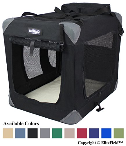 """EliteField 3-Door Folding Soft Dog Crate, Indoor & Outdoor Pet Home, Multiple Sizes and Colors Available (42"""" L x 28"""" W x 32"""" H, Black) Basic Cat Crates Dog Food Supplies Top"""