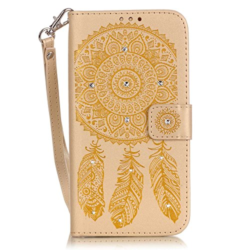 iPhone 6 Plus Hülle,iPhone 6S Plus Hülle Leder,Cozy Hut Schutzhülle für iPhone 6 Plus iPhone 6S Plus, Luxus funkelnde Kristall Strass glänzend Glanz-Design Campanula Muster Prägung Ledertasche Slim Retro PU Leder Bookstyle Handyhülle Tasche Flip Wallet Case mit Strap Portable Handytasche Anti-Scratch Shell Cash Pouch ID Card Slot Magnetverschluss Etui Soft Silikon für iPhone 6 Plus / 6S Plus (5,5 Zoll) - Golden Campanula