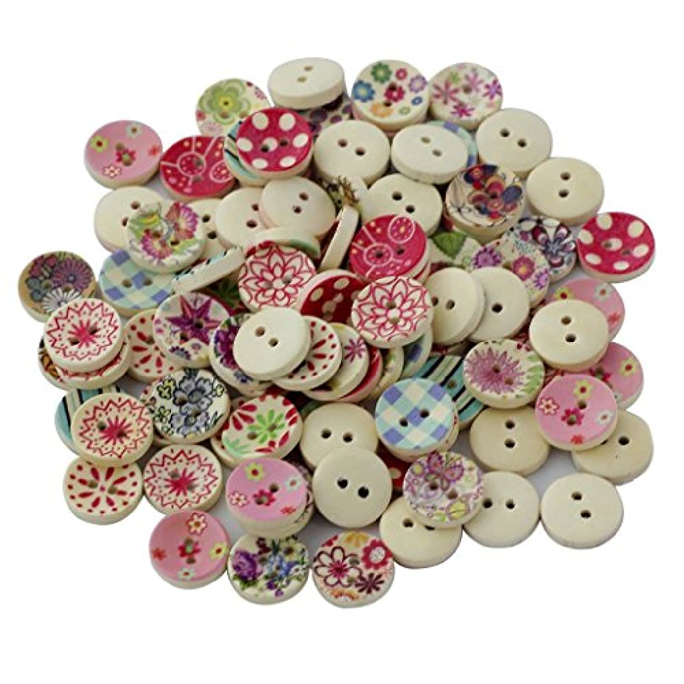 Wooden Buttons Round Vintage Buttons for Sewing and Crafting,100pcs Assorted 2 Holes Buttons