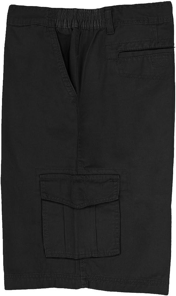 Full Blue Big Men's Cargo Shorts with Expandable Waist (Waist 48, Black)