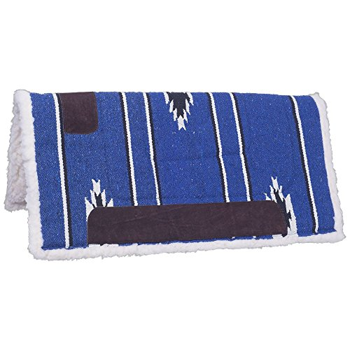 Tough 1 Square Saddle Pad/Fleece Bottom, Royal/Black/Cream, 30 x 30
