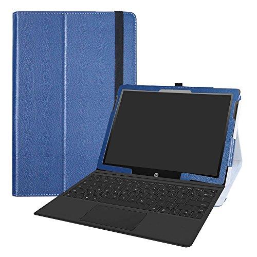 LiuShan HP Chromebook x2 12-fXXX Series 2-in-1 hülle, Folding PU Leder Tasche Hülle Case mit Ständer für HP Chromebook x2 12-fXXX Series 2-in-1 (wie 12-f014dx) (12,3 Zoll) Android Tablet PC,Blau