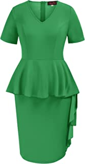 Hanna Nikole Formal Dresses for Wedding Women Peplum Short Sleeve Business Slim Fit Dresses Green 18W