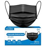 Black Disposable Face Mask 3 Layer 50 PCS Medical 98% Protective Safety Breathable Comfortable Mask with Elastic Earloop and Metal Nose Wire Clip for Unisex Adult, Children and Family Care.