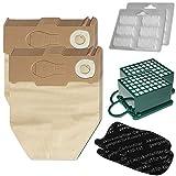 Juego de 12 bolsas de aspiradora + 12 piedras aromáticas + 2 filtros Hepa + 2 filtros de carbón para Vorwerk Kobold VK 130 131 SC - VK130, VK131 - FP 130 131 - con papel especial