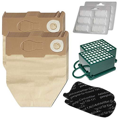 Sparset 12 Staubsaugerbeutel + 12 Duftsteine + 2 Hepa Filter + 2 Kohlefilter geeignet für Vorwerk Kobold VK 130 131 SC - VK130, VK131 - FP 130 131 - mit Spezialpapier