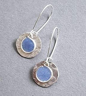 Handmade Lightweight Womens Silvertone Small Periwinkle Resin Drop Earrings Beads by Bettina