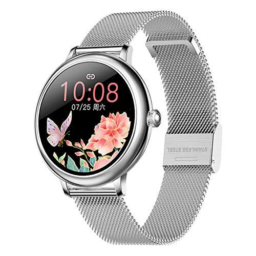 QNMB Redondo Lady Smart Watch CF80 Tasa cardíaca y monitoreo de la presión Arterial Podómetro Bluetooth Smart Pulsera Smart Watch,C
