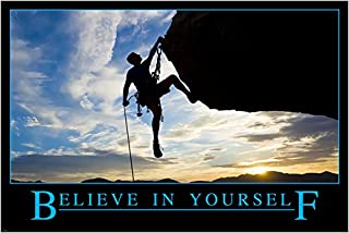 HSE Inspirational Motivational Poster Believe in Yourself Rock Climbing SELF Confidence 24X36