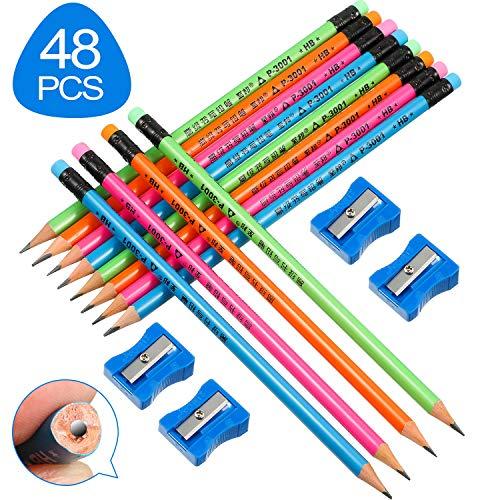 48 Pieces Handwriting Triangle Pencils Wood Case Pencils with 4 Sharpeners, Kindergarten Children Pencils School Supplies Beginner Grip Writing Pencil for Kids