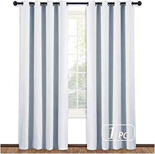 NICETOWN Room Darkening Window Curtain Panel - (Greyish White/Silver Grey Color) Solid Thermal Insulated Blind Privacy Drape for Bedroom,52x84 inches, 1 Pack