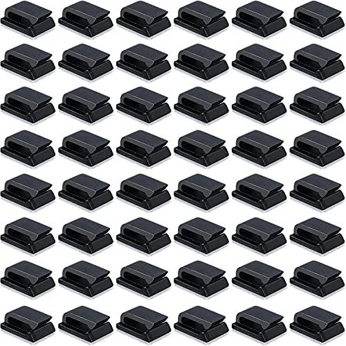 Clips de alambre,Abrazaderas para cables eléctricos, 50 abrazaderas autoadhesivas para cables Abrazaderas para cables eléctricos Clips para administración de cables para automóvil (13x10 mm, negro)