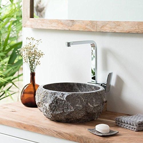 wohnfreuden Marmor Naturstein Aufsatz-Waschbecken ca. 35 cm Natur grau Gäste WC