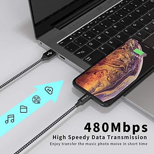PIPIKA iPhone Ladekabel, [2pack 3M] Lightning Kabel Nylon iPhone Kabel USB Ladekabel für iPhone 11, XS, XS Max, XR, X, 8, 8 Plus, 7, 7 Plus, 6s, 6s Plus, 6, 6 Plus, SE, 5s, 5c, 5, iPad Mini