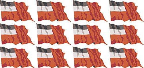 Mini Aufkleber Set - Pack wehend - 50x31mm - Sticker - Fahne - Georgien - Flagge - Banner - Standarte fürs Auto, Büro, zu Hause und die Schule - 12 Stück