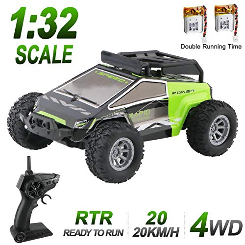 1:32 RC Mini Car 2.4G 4WD Control Remoto Coche de Carreras Off Road Buggy de Alta Velocidad con 2 Baterías Recargables Mini Vehículos con Accesorios de Pista de Bricolaje Regalo para Niños Adultos